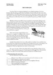 English Worksheets: the Tornado