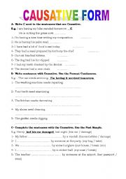 English Worksheet: causative forms