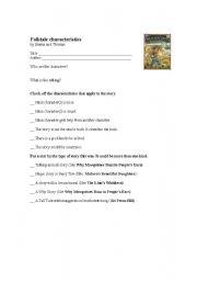 English Worksheets: Checklist for folktales