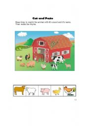 English Worksheets: animal sound(cut and paste)