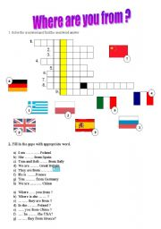 English Worksheet: where are you from ? ( countries)