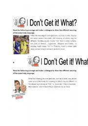 English Worksheets: Body Language 2