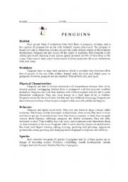 English Worksheet: Penguins (reading comprehension)