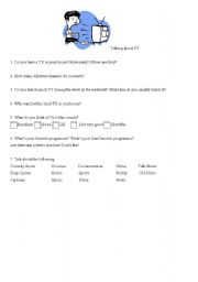 English Worksheets: Talking about TV