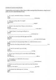 English Worksheets: revision transformations