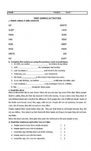 English Worksheet: elementary test about past simple