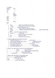 English Worksheet: Past Simple test