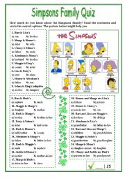 English Worksheet: Simpsons Family Quiz