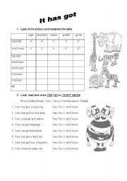 English Worksheets: Animal Description - Part 01