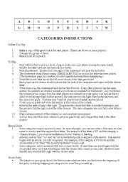 English Worksheet: Scattergories for the classroom (game)
