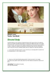 English Worksheets: Becoming Jane ( Directed Study)