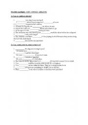English Worksheet: Can, could, able to, must, have to