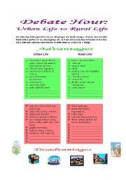 English Worksheets: Debate Hour: Urban Life vs Rural life