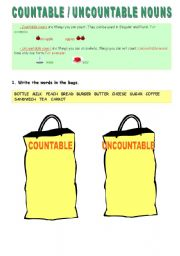 English Worksheets: Countable - Uncountable nouns