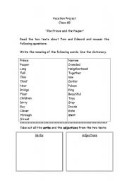 English Worksheets: ´The Prince and the Pauper´