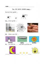 English Worksheet: Itsy bitsy spider activity sheet