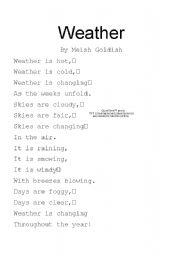 English Worksheet: Weather Poem