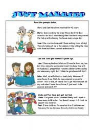 English Worksheet: just married-role play