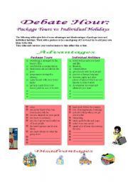 English Worksheets: Debate Hour: Package Tours vs Individual Holidays
