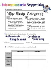 English Worksheet: Newspaper Articles