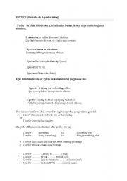 English Worksheets: prefer / want to