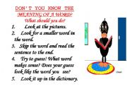 English Worksheets: don�t know  a word