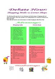English Worksheet: Debate Hour: Shopping Malls vs Corner Shops