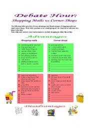 English Worksheets: Debate Hour: Shopping Malls vs Corner Shops