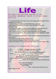 English Worksheets: Life