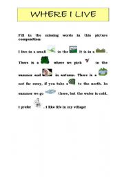 Snapshot image of The City and State I Live In worksheet ...