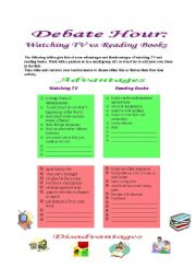 English Worksheet: Debate Hour: Watching TV vs Reading Books