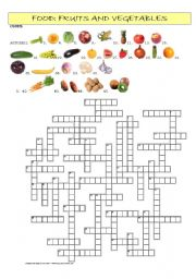 English Worksheet: Food: Fruits and vegetables crossword