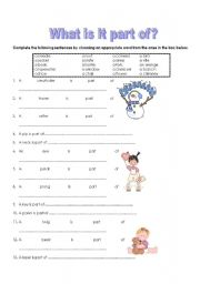 English Worksheets: What is part of?