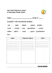 English Worksheets: classification