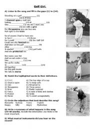 English Worksheet: Golf Girl
