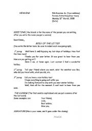English Worksheets: writting a letter