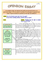 English Worksheet: WRITING SKILLS: OPINION ESSAY