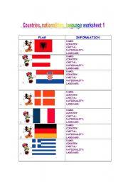 English Worksheet: Countries, nationalities, languages spoken