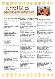 English Worksheet: 50 First Dates (2004) - Movie Activity