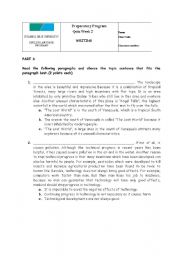 Topic Sentence and Paragraph Worksheet