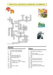 Months, seasons, ordinal numbers crossword.