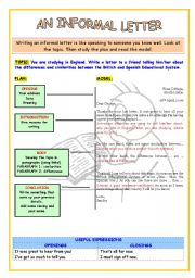 English Worksheet: WRITING SKILL: An Informal Letter