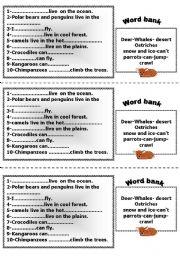 English Worksheet: animals home