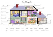 English Worksheet: label parts of the house/home