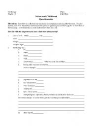 English Worksheets: Infant/Childhood Questionnaire