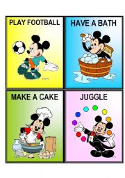 English Worksheets: MICKEY ACTION CARDS