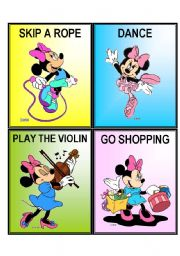 English Worksheets: MINNIE ACTION CARDS
