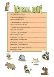 intermediate esl worksheets animal quiz. Black Bedroom Furniture Sets. Home Design Ideas