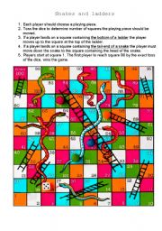 English Worksheet: Snakes and ladders
