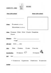 English Worksheets: Animal ID card